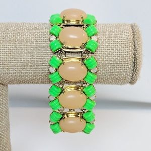 Bright J. Crew Green & Peach Cabachon Bracelet